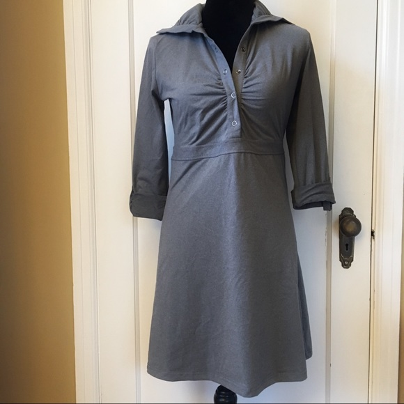 TEHAMA Dresses & Skirts - TEHAMA Athletic Roll Sleeve Gray Button Dress XS